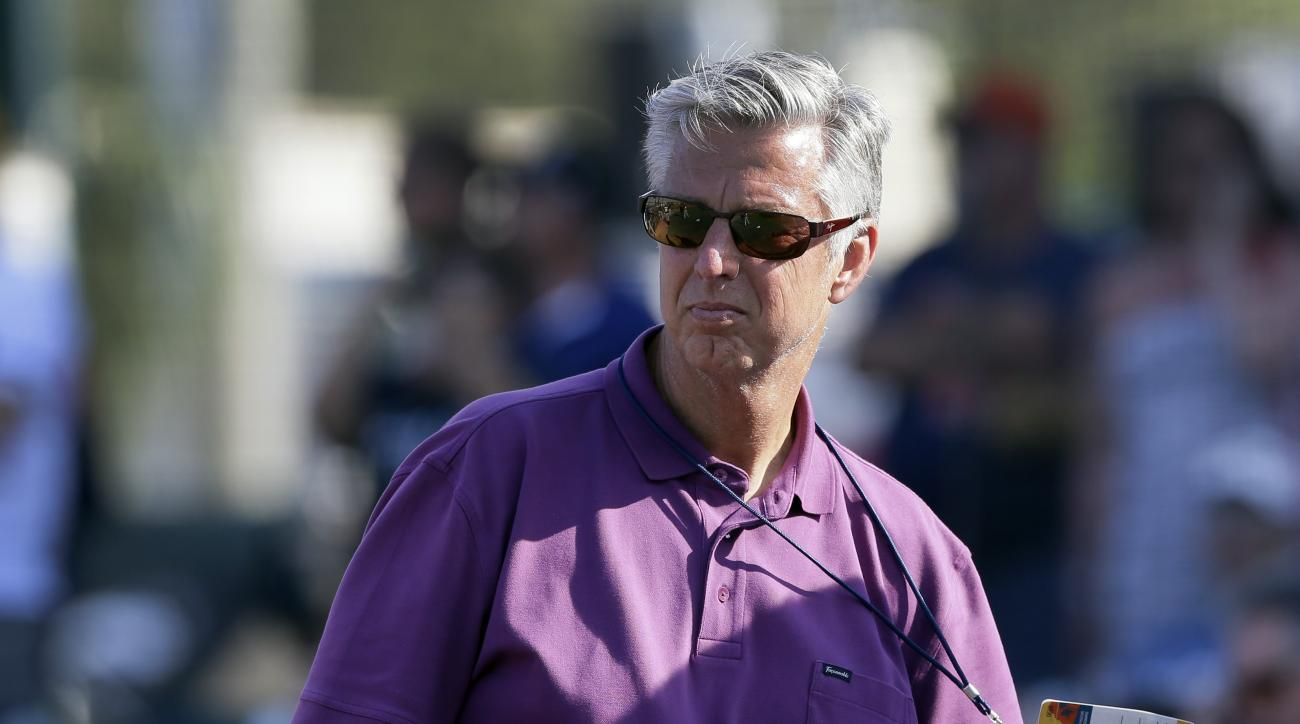 Detroit Tigers genera manager Dave Dombrowski is seen during batting practice before a spring training exhibition baseball game between the Pittsburgh Pirates and the Detroit Tigers in Bradenton, Fla., Wednesday, March 18, 2015. (AP Photo/Carlos Osorio)
