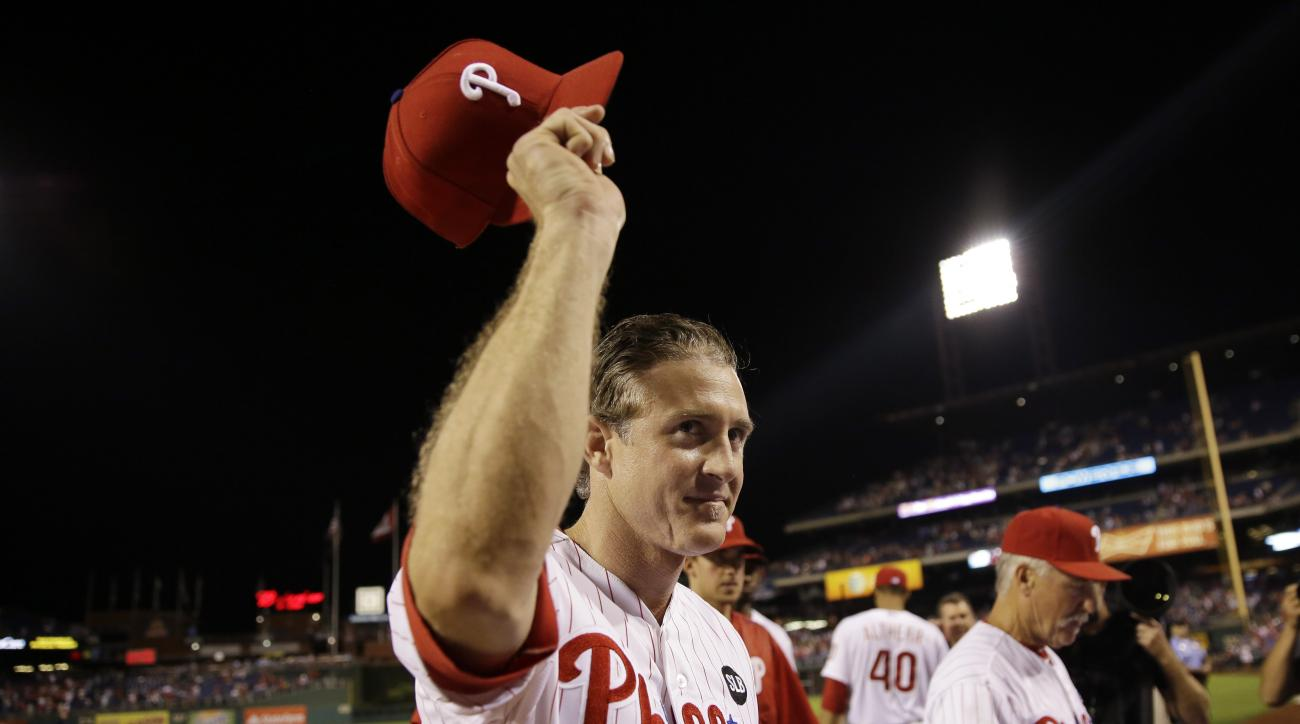 Philadelphia Phillies' Chase Utley acknowledges cheers from the crowd after a baseball game against the Toronto Blue Jays, Wednesday, Aug. 19, 2015, in Philadelphia. Philadelphia won 7-4. (AP Photo/Matt Slocum)