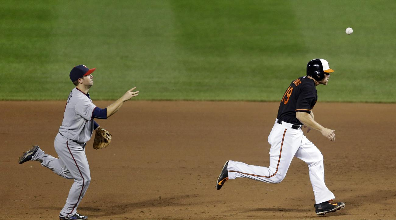 Minnesota Twins second baseman Brian Dozier, left, throws to first base past Baltimore Orioles' Chris Davis as Davis gets caught in a rundown during the sixth inning of a baseball game, Friday, Aug. 21, 2015, in Baltimore. Davis was tagged out on the play