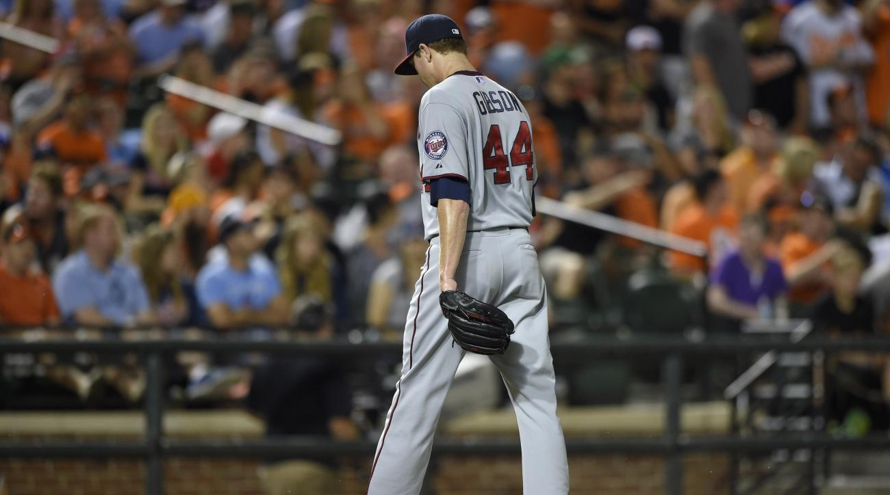 Minnesota Twins starting pitcher Kyle Gibson walks to the dugout after he was pulled from the baseball game against the Baltimore Orioles during the sixth inning Saturday, Aug. 22, 2015, in Baltimore. (AP Photo/Nick Wass)