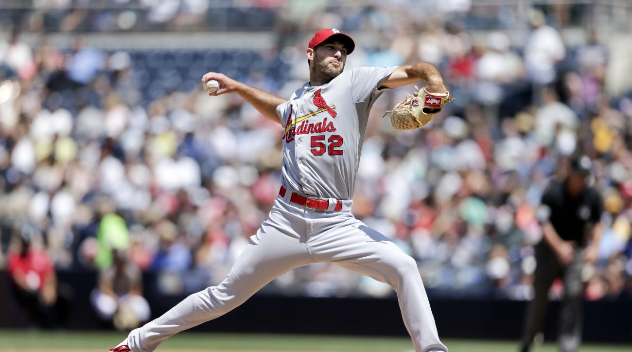 St. Louis Cardinals starting pitcher Michael Wacha works against a San Diego Padres batter during the first inning of a baseball game, Sunday, Aug. 23, 2015 in San Diego. (AP Photo/Gregory Bull)