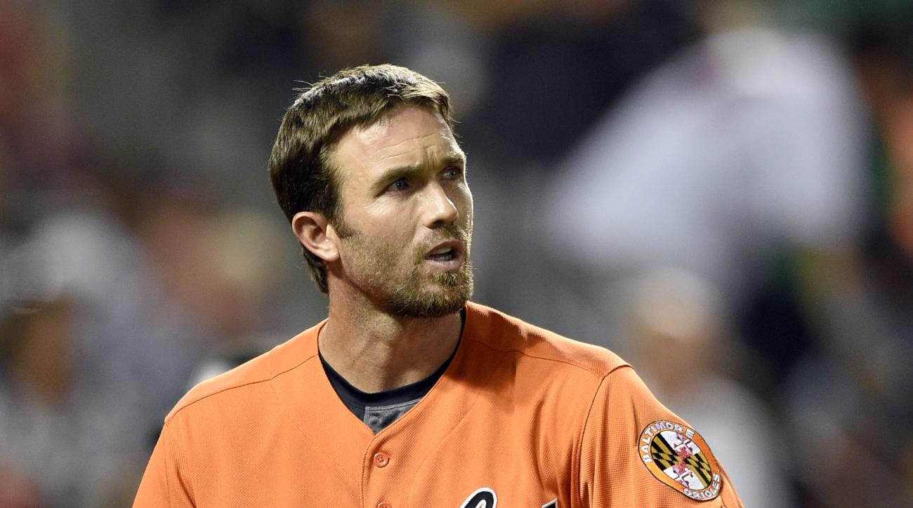 Baltimore Orioles' J.J. Hardy looks on during a baseball game against the Minnesota Twins, Saturday, Aug. 22, 2015, in Baltimore. The Twins won 3-2. (AP Photo/Nick Wass)
