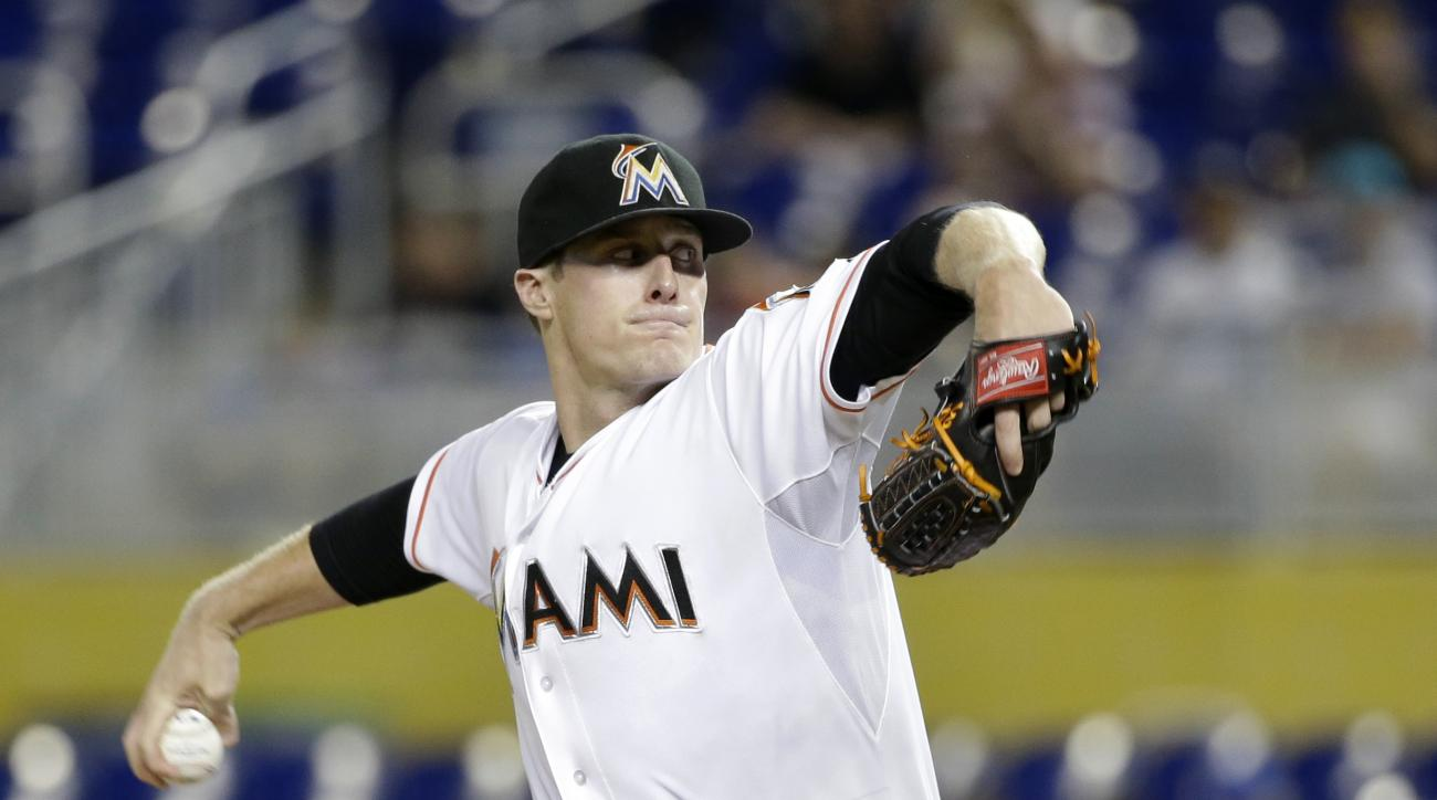 Miami Marlins' Tom Koehler delivers a pitch during the first inning of a baseball game against the Pittsburgh Pirates, Monday, Aug. 24, 2015, in Miami. (AP Photo/Wilfredo Lee)