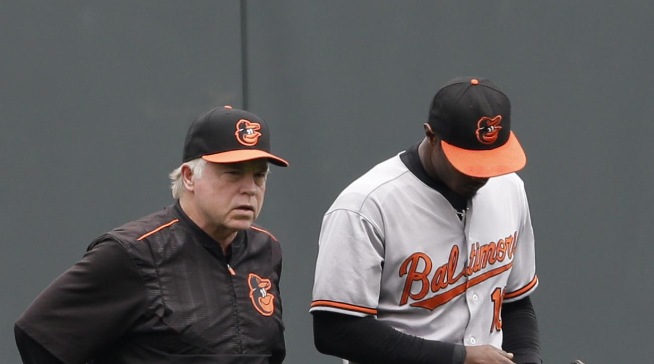 Baltimore Orioles manager Buck Showalter, left, walks center fielder Adam Jones (10) to his position after Jones was injured in the first inning of a baseball game against the Kansas City Royals at Kauffman Stadium in Kansas City, Mo., Thursday, Aug. 27,