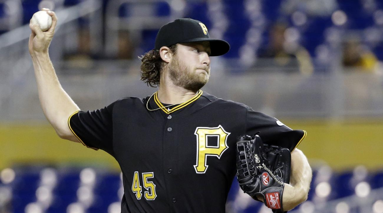 Pittsburgh Pirates' Gerrit Cole delivers a pitch during the first inning of a baseball game against the Miami Marlins, Thursday, Aug. 27, 2015, in Miami. (AP Photo/Wilfredo Lee)