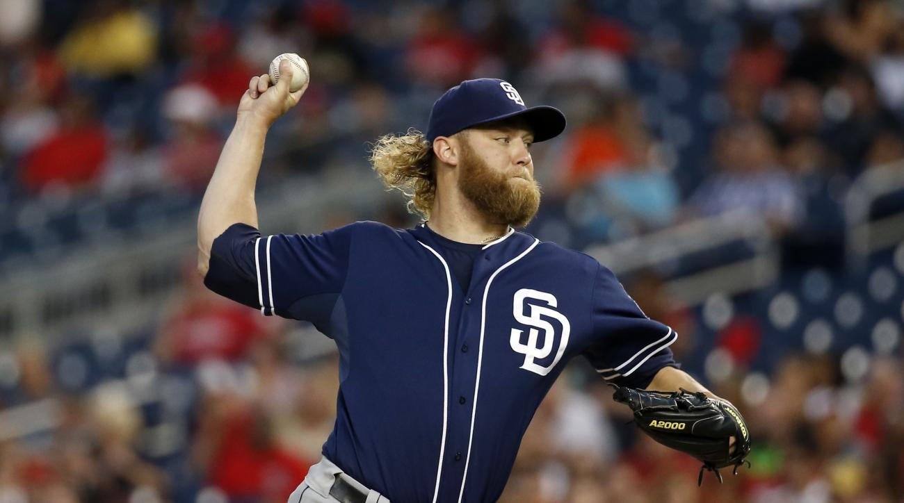San Diego Padres starting pitcher Andrew Cashner throws during the second inning of a baseball game against the Washington Nationals at Nationals Park, Thursday, Aug. 27, 2015, in Washington. (AP Photo/Alex Brandon)