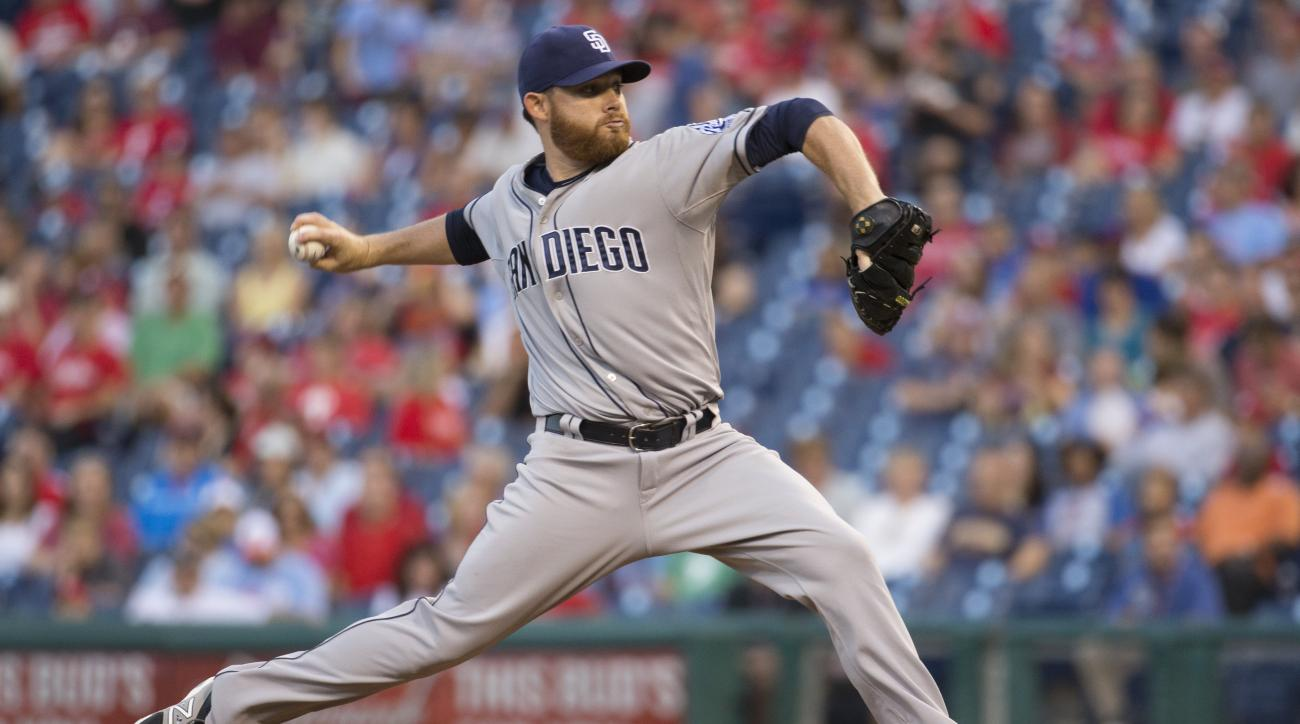 San Diego Padres starter Ian Kennedy throws a pitch during the first inning of a baseball game against the Philadelphia Phillies, Friday, Aug. 28, 2015, in Philadelphia. (AP Photo/Chris Szagola)