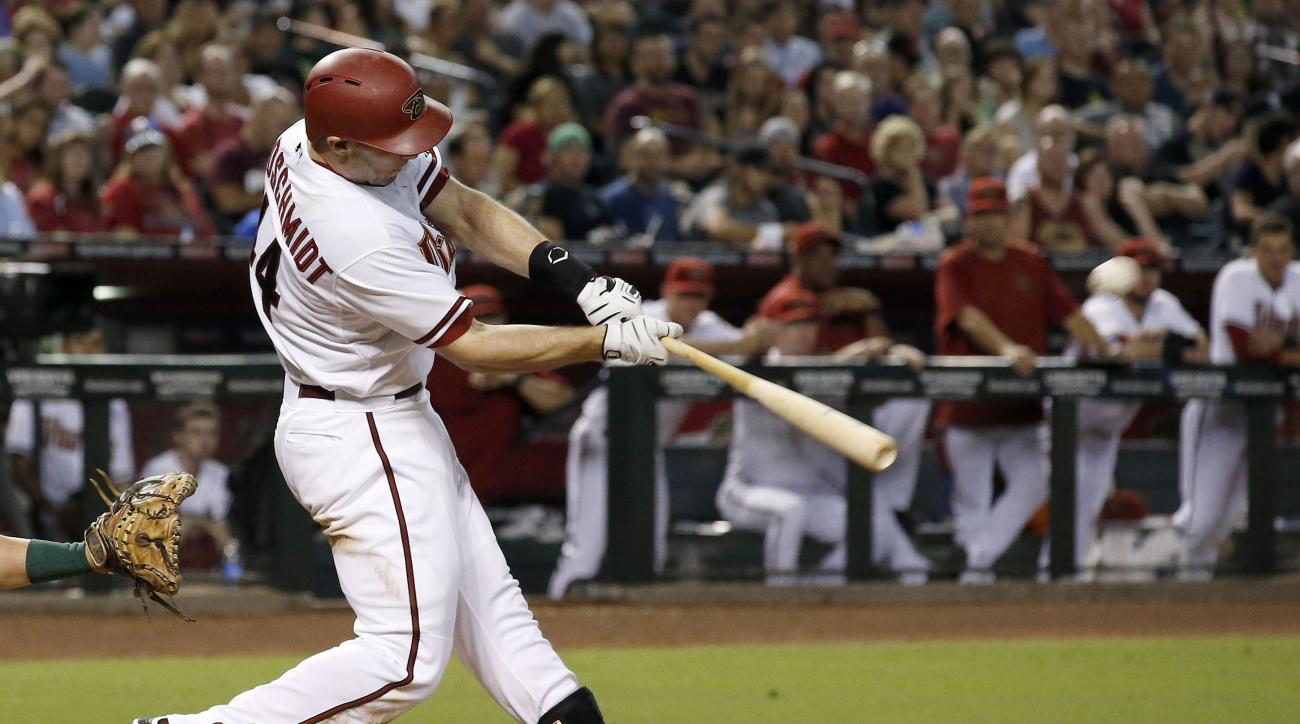 Arizona Diamondbacks' Paul Goldschmidt connects for a two-run home run against the Oakland Athletics during the seventh inning of a baseball game Friday, Aug. 28, 2015, in Phoenix. (AP Photo/Ross D. Franklin)