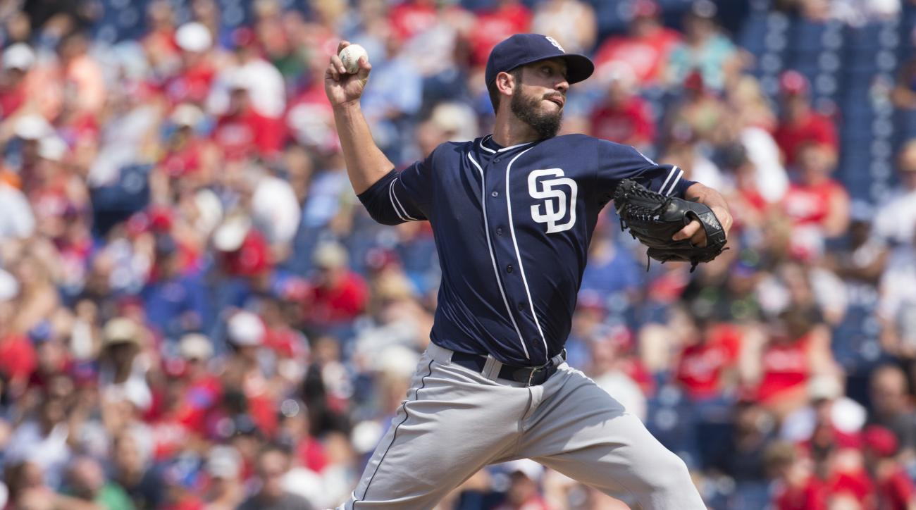 San Diego Padres starting pitcher James Shields throws during the third inning of a baseball game against the Philadelphia Phillies, Sunday, Aug. 30, 2015, in Philadelphia. (AP Photo/Chris Szagola)