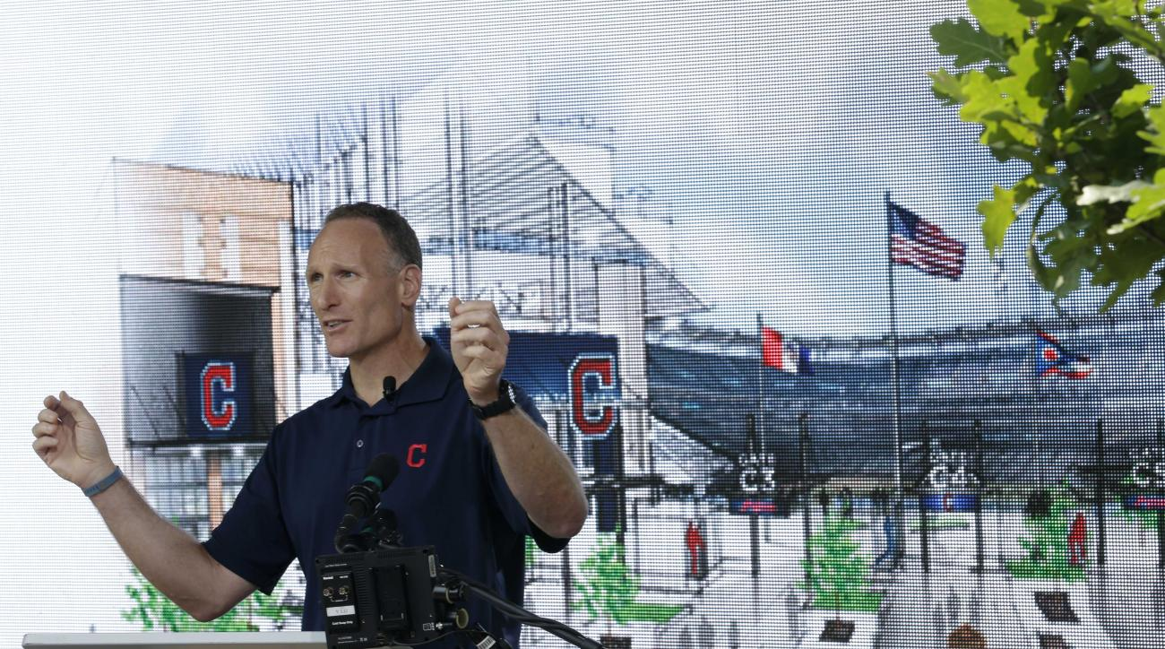 Cleveland Indians president Mark Shapiro talks about the renovations to Gate C Thursday, Aug. 7, 2014, in Cleveland. Gate C will have dramatic views of the Cleveland Skyline from inside the ballpark. The changes at Progressive Field will include a new two