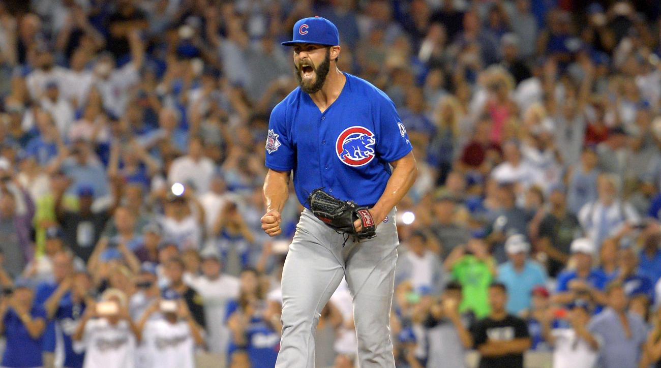 Chicago Cubs starting pitcher Jake Arrieta reacts after throwing his first career no-hitter during the ninth inning of a baseball game against the Los Angeles Dodgers, Sunday, Aug. 30, 2015, in Los Angeles. The Cubs won 2-0. (AP Photo/Mark J. Terrill)