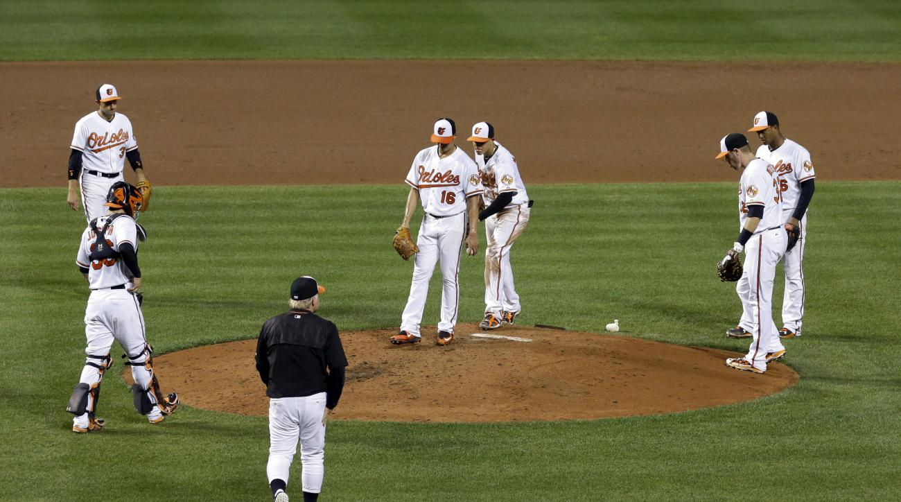 Baltimore Orioles starting pitcher Wei-Yin Chen, of Taiwan, (16) stands on the mound as teammates and manager Buck Showalter approach to relieve him in the fifth inning of a baseball game against the Tampa Bay Rays, Monday, Aug. 31, 2015, in Baltimore. (A