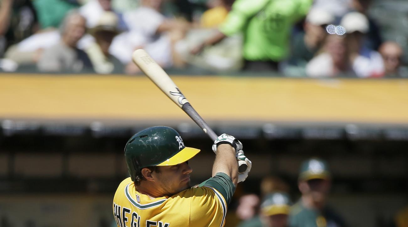 Oakland Athletics' Josh Phegley hits a two-run home run off Los Angeles Angels starting pitcher Andrew Heaney in the first inning of their baseball game Wednesday, Sept. 2, 2015, in Oakland, Calif. (AP Photo/Eric Risberg)