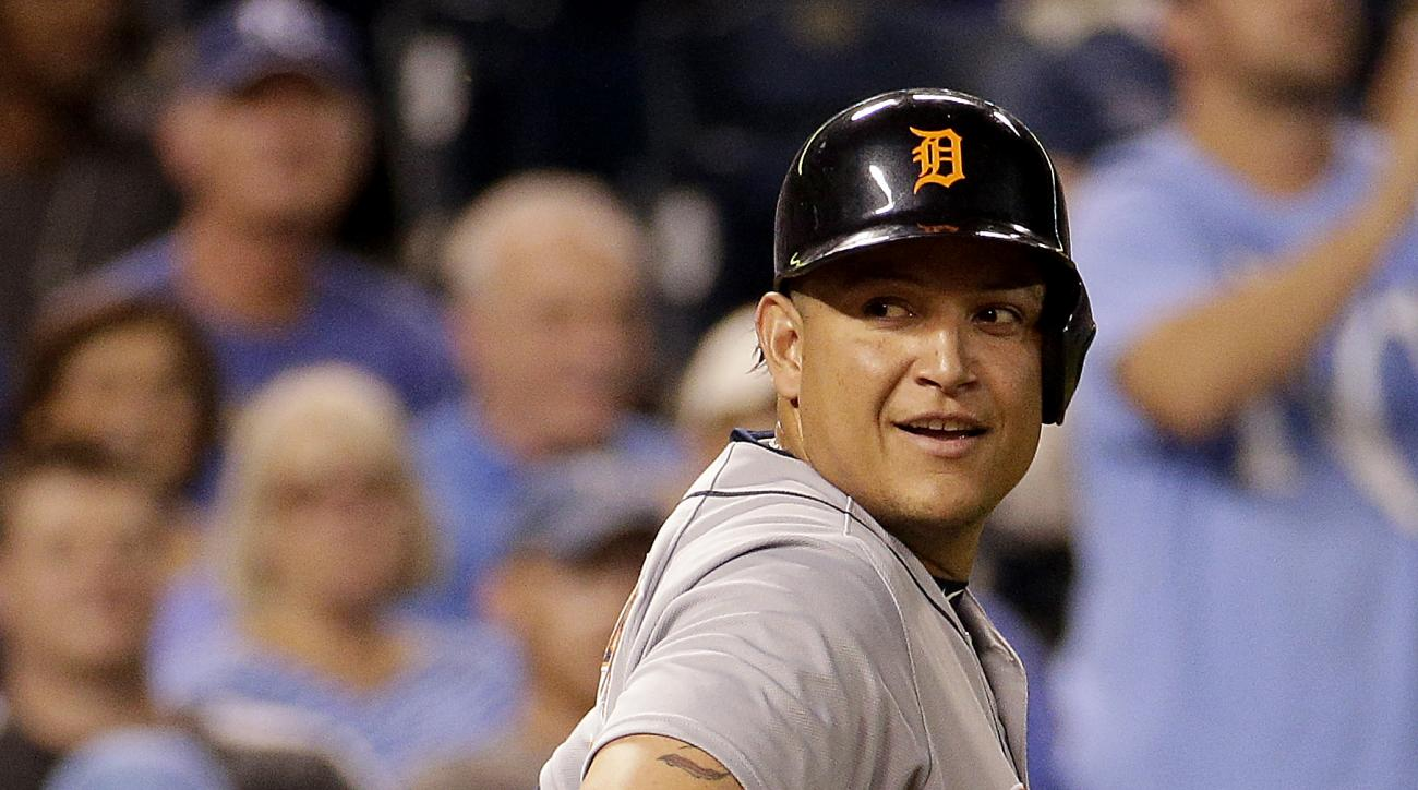 Detroit Tigers' Miguel Cabrera looks back at the home plate umpire after being ejected during the fourth inning of a baseball game against the Kansas City Royals Wednesday, Sept. 2, 2015, in Kansas City, Mo. (AP Photo/Charlie Riedel)