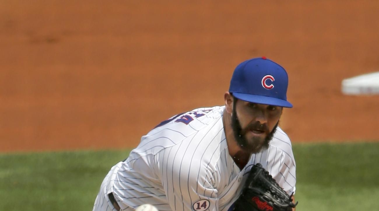 Chicago Cubs starting pitcher Jake Arrieta delivers during the first inning of a baseball game against the Arizona Diamondbacks Saturday, Sept. 5, 2015, in Chicago. (AP Photo/Charles Rex Arbogast)