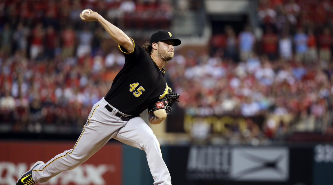 Pittsburgh Pirates starting pitcher Gerrit Cole throws during the first inning of a baseball game against the St. Louis Cardinals, Sunday, Sept. 6, 2015, in St. Louis. (AP Photo/Jeff Roberson)