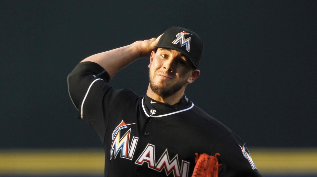Miami Marlins starting pitcher Jose Fernandez (16) throws in the first inning of a baseball game against the Atlanta Braves, Friday, Aug. 7, 2015, in Atlanta. (AP Photo/Brett Davis)