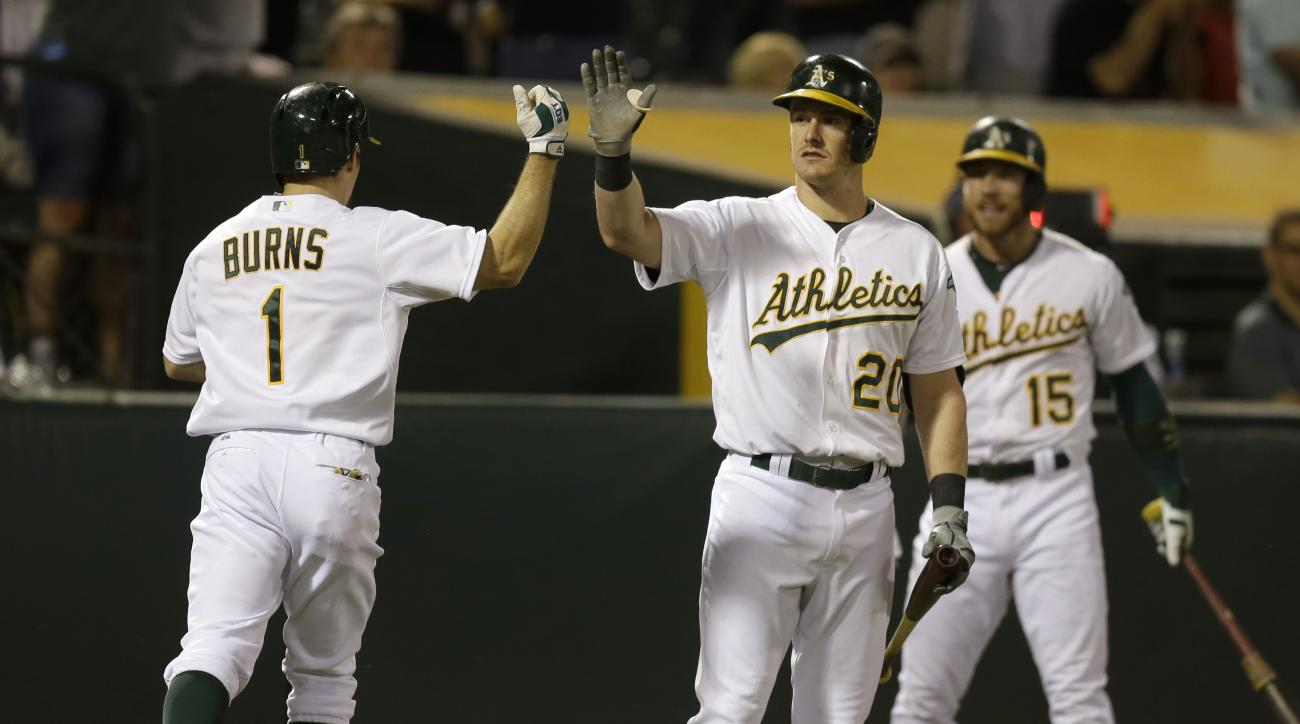 Oakland Athletics' Billy Burns, left, is congratulated by Mark Canha (20) after hitting a home run off Houston Astros' Scott Kazmir during the third inning of a baseball game Tuesday, Sept. 8, 2015, in Oakland, Calif. (AP Photo/Ben Margot)