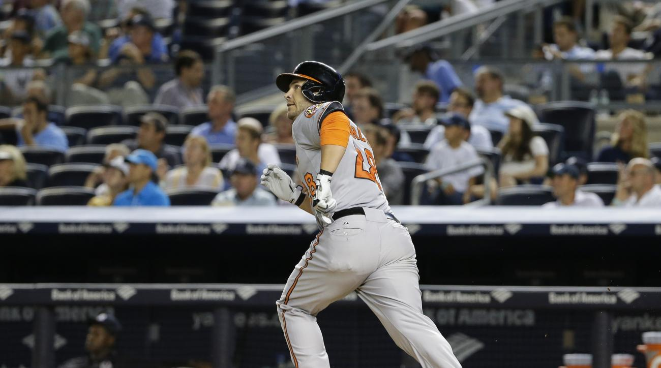 Baltimore Orioles' Steve Pearce watches his home run during the eighth inning of a baseball game against the New York Yankees on Wednesday, Sept. 9, 2015, in New York. (AP Photo/Frank Franklin II)
