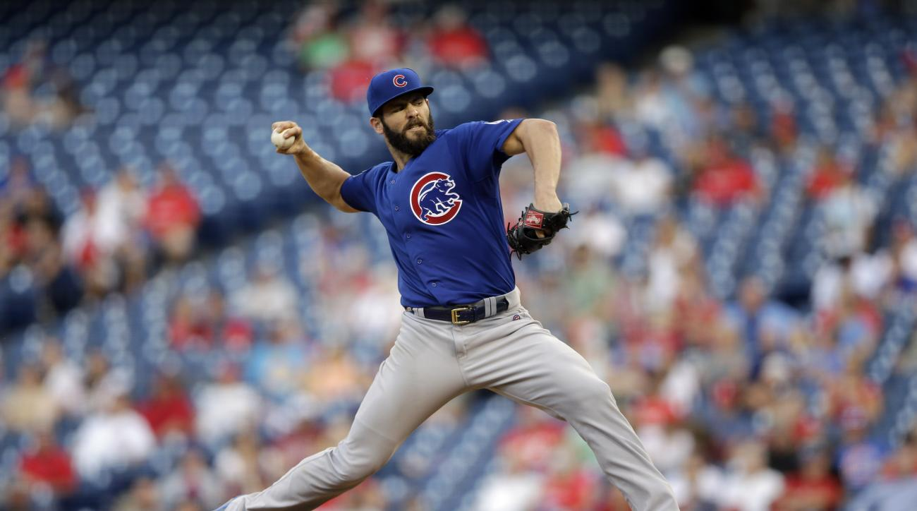 Chicago Cubs' Jake Arrieta pitches during the fifth inning of the first game of a baseball doubleheader against the Philadelphia Phillies, Friday, Sept. 11, 2015, in Philadelphia. (AP Photo/Matt Slocum)