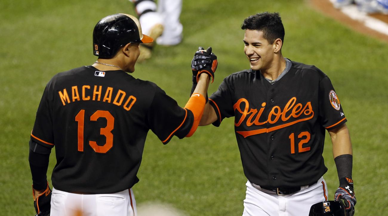 Baltimore Orioles' Dariel Alvarez, right, celebrates his solo home run with Manny Machado during the third inning of a baseball game against the Kansas City Royals, Friday, Sept. 11, 2015, in Baltimore. (AP Photo/Patrick Semansky)