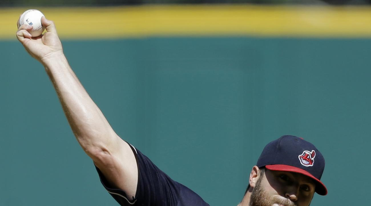 Cleveland Indians starting pitcher Cody Anderson delivers in the first inning of the first game of a baseball doubleheader against the Detroit Tigers, Sunday, Sept. 13, 2015, in Cleveland. (AP Photo/Tony Dejak)