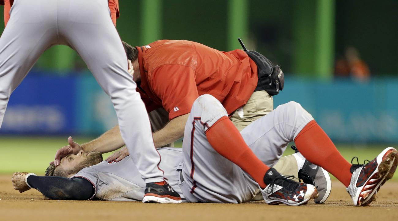 Washington Nationals' Bryce Harper lies on the field after he collided with a Miami Marlins infielder in the first inning of a baseball game, Sunday, Sept. 13, 2015, in Miami. (AP Photo/Lynne Sladky)