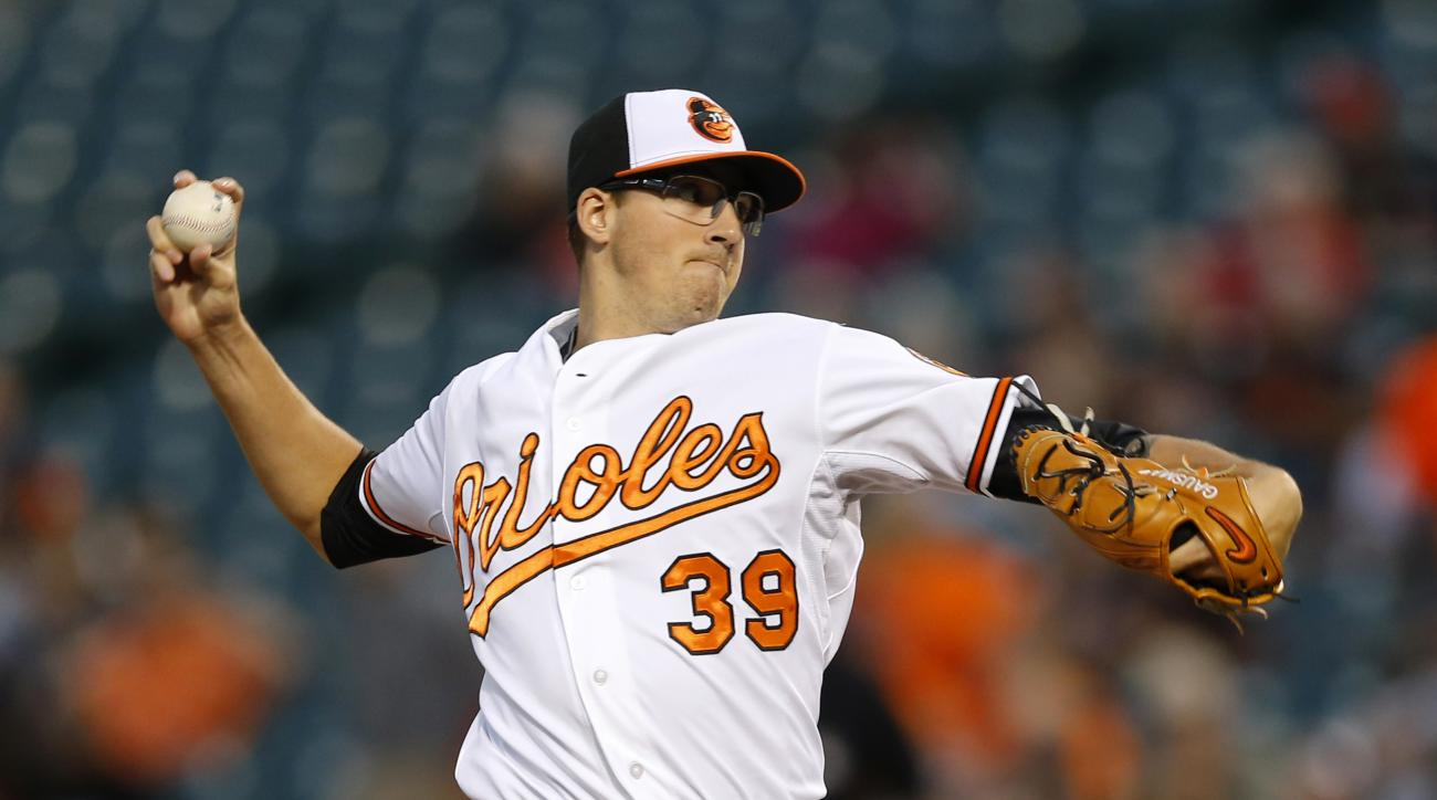 Baltimore Orioles starting pitcher Kevin Gausman throws to the Boston Red Sox in the first inning of a baseball game, Monday, Sept. 14, 2015, in Baltimore. (AP Photo/Patrick Semansky)
