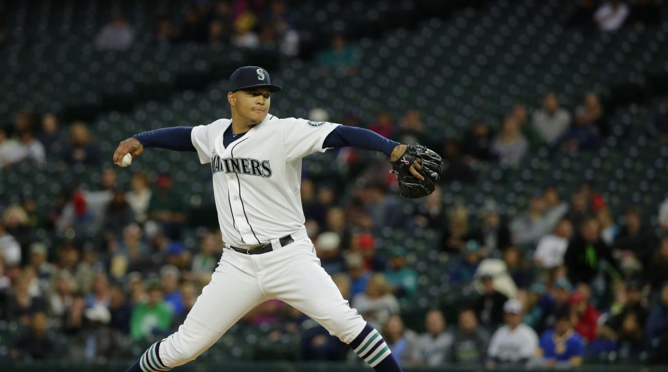 Seattle Mariners starting pitcher Taijuan Walker throws against the Los Angeles Angels in the first inning of a baseball game, Monday, Sept. 14, 2015, in Seattle. (AP Photo/Ted S. Warren)