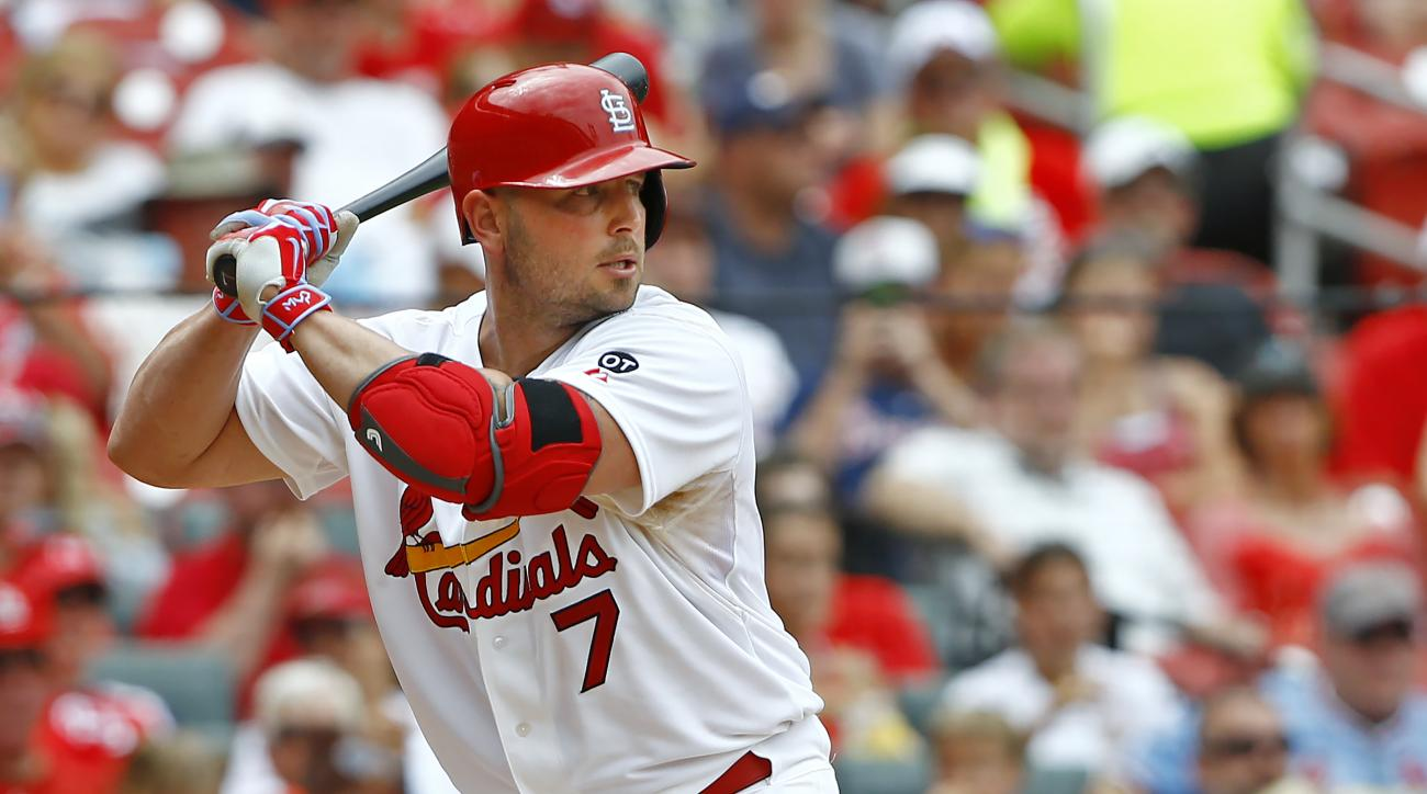 St. Louis Cardinals' Matt Holliday at bat during a baseball game against the Atlanta Braves, Sunday, July 26, 2015, in St. Louis. (AP Photo/Billy Hurst)