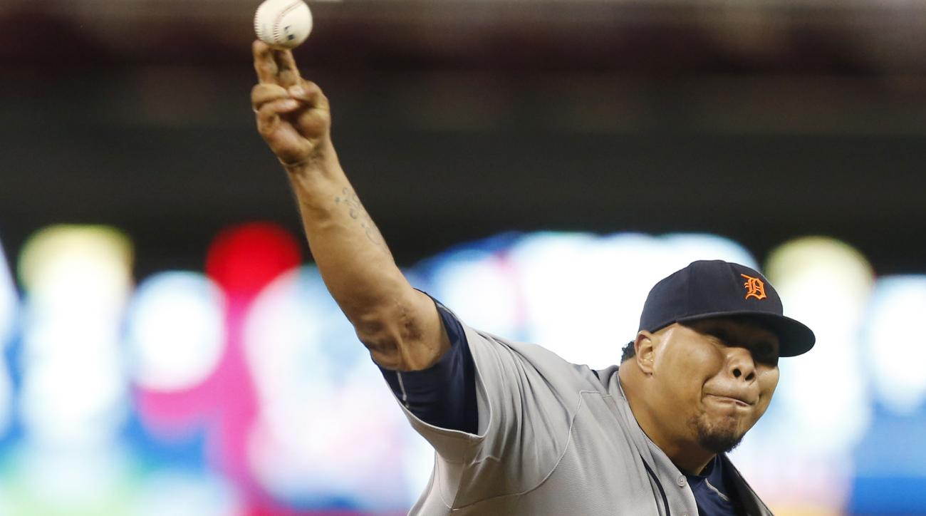 Detroit Tigers pitcher Bruce Rondon throws against the Minnesota Twins in the ninth inning of a baseball game, Tuesday, Sept. 15, 2015, in Minneapolis. The Tigers won 5-4, with Rondon picking up the save. (AP Photo/Jim Mone)