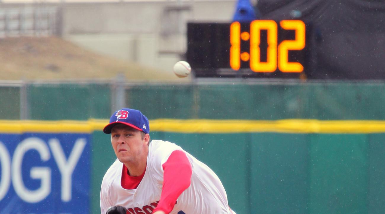 FILE - In this Thursday, April 9, 2015 file photo, Buffalo Bisons pitcher Andrew Albers (14) throws his warm up pitches as a clock winds down between innings for the Triple-A baseball opener between the Buffalo Bisons and Rochester Red Wings in Buffalo, N