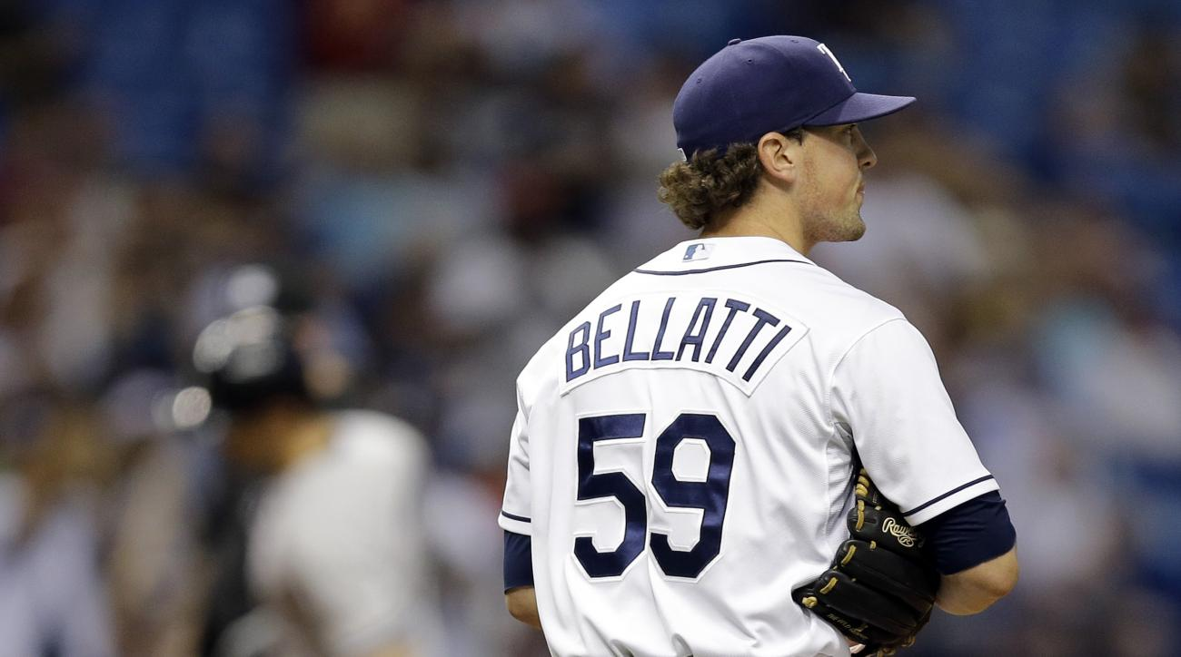 Tampa Bay Rays relief pitcher Andrew Bellatti (59) walks back to the mound as New York Yankees' Greg Bird runs around the bases after hitting a home run during the ninth inning of a baseball game Wednesday, Sept. 16, 2015, in St. Petersburg, Fla. (AP Phot