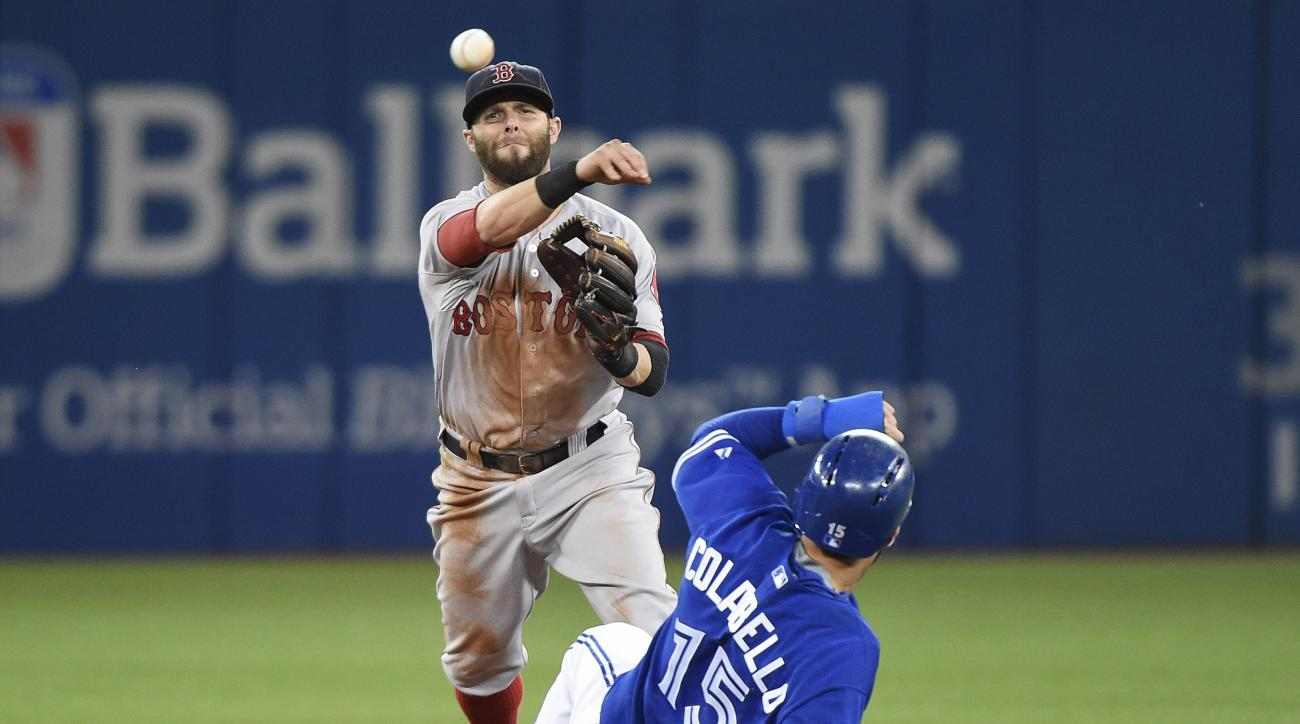 Boston Red Sox second baseman Dustin Pedroia, left, forces out Toronto Blue Jays first baseman Chris Colabello at second base then turns the double play over to out Blue Jays Russell Martin at fist base during the first inning of a baseball game, Saturday