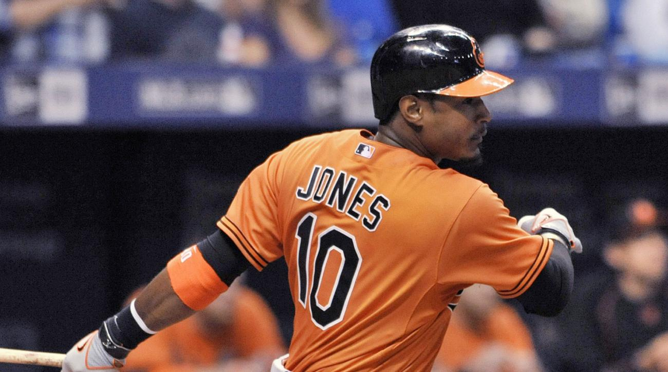 Baltimore Orioles' Adam Jones hits an RBI-single off Tampa Bay Rays' Erasmo Ramirez during the sixth inning of a baseball game Saturday, Sept. 19, 2015, in St. Petersburg, Fla. (AP Photo/Steve Nesius)