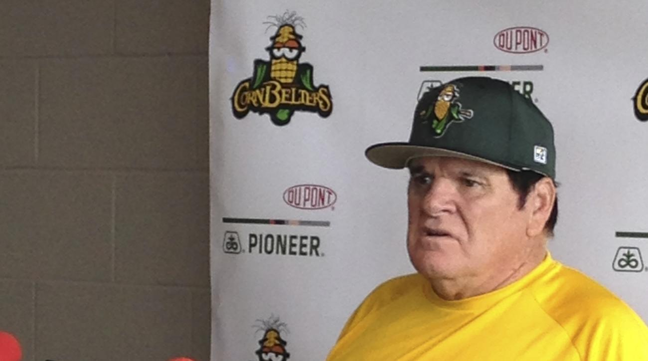 "Former baseball player Pete Rose talks with reporters in Normal, Ill., on Thursday, July 9, 2015. Rose said he's ""open to almost anything"" that Commissioner Rob Manfred might have in mind when they discuss his lifetime ban for betting on baseball. The for"