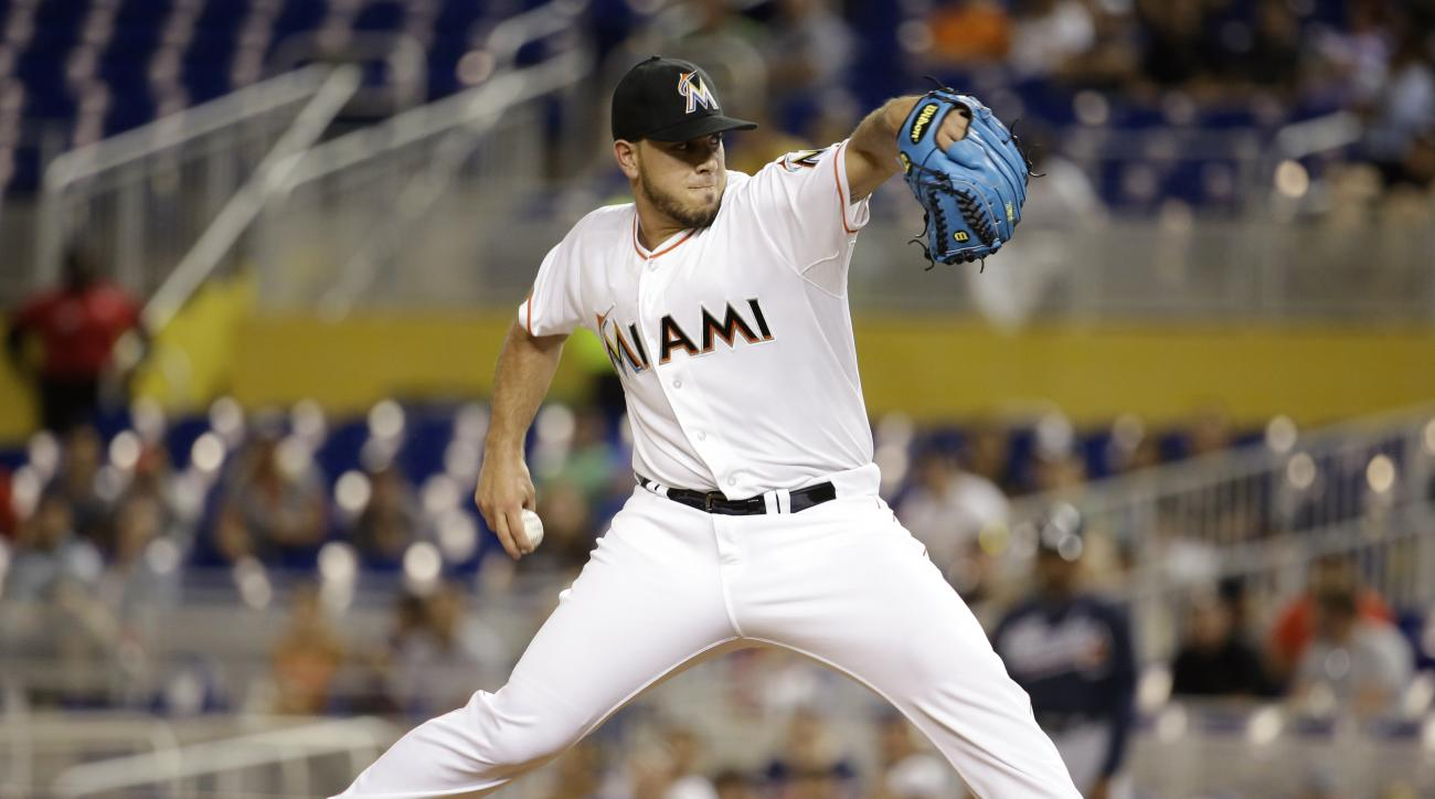 Miami Marlins starting pitcher Jose Fernandez throws in the first inning of a baseball game against the Atlanta Braves, Friday, Sept. 25, 2015, in Miami. (AP Photo/Lynne Sladky)