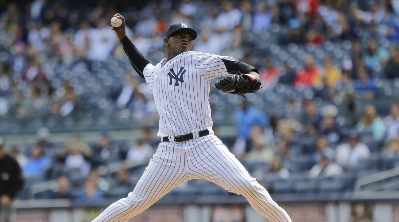 New York Yankees' Luis Severino delivers a pitch during the first inning of a baseball game against the Chicago White Sox, Sunday, Sept. 27, 2015, in New York. (AP Photo/Frank Franklin II)