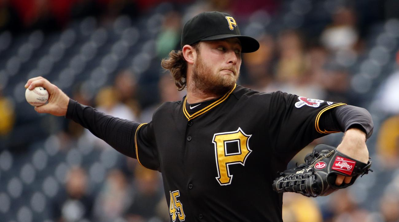 Pittsburgh Pirates starting pitcher Gerrit Cole delivers in the first inning of a baseball game against the St. Louis Cardinals in Pittsburgh, Wednesday, Sept. 30, 2015. (AP Photo/Gene J. Puskar)