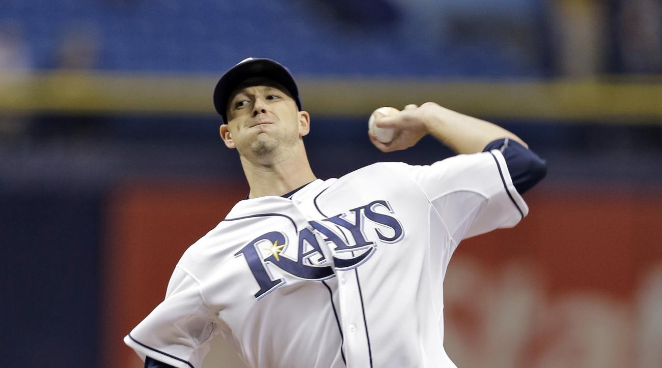Tampa Bay Rays' Drew Smyly pitches to the Miami Marlins during the first inning of an interleague baseball game Wednesday, Sept. 30, 2015, in St. Petersburg, Fla. (AP Photo/Chris O'Meara)