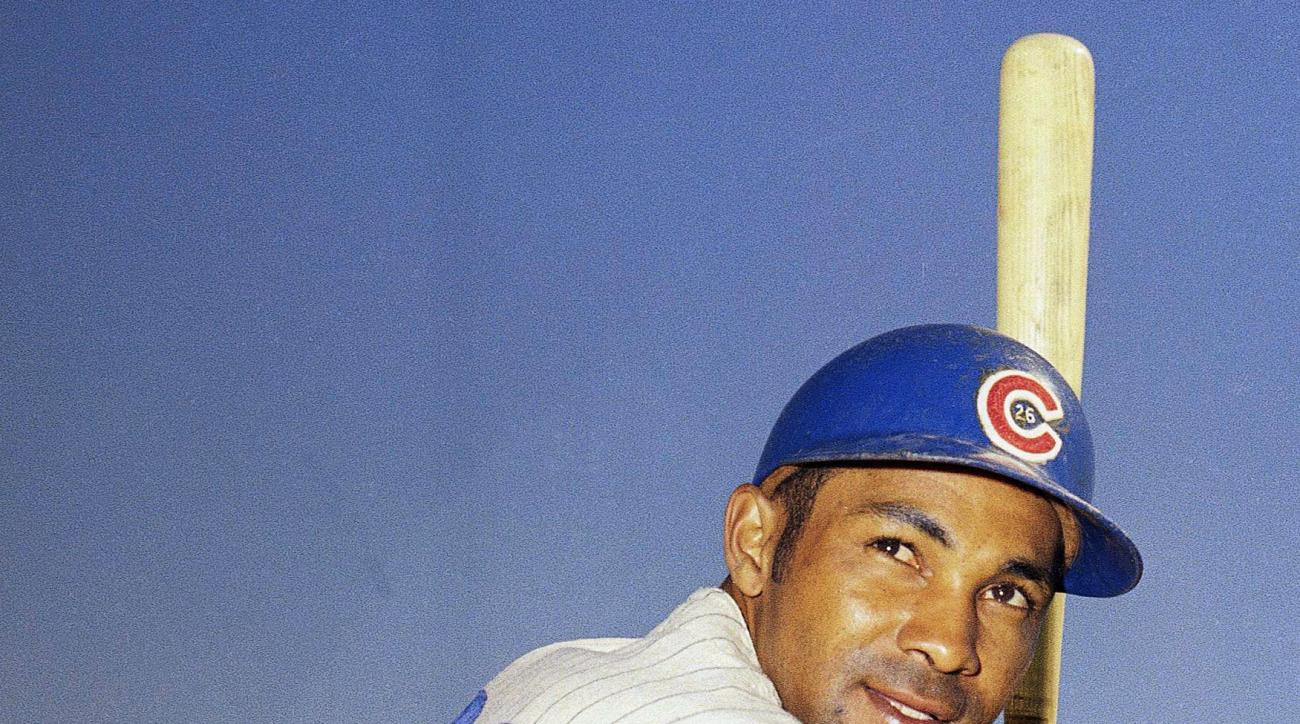 FILE - This 1969 file photo, shows Chicago Cubs baseball player Billy Williams. Williams can't help but let his mind drift, think about his old teammates and fellow franchise icons Ernie Banks and Ron Santo as the Chicago Cubs are making their long-awaite