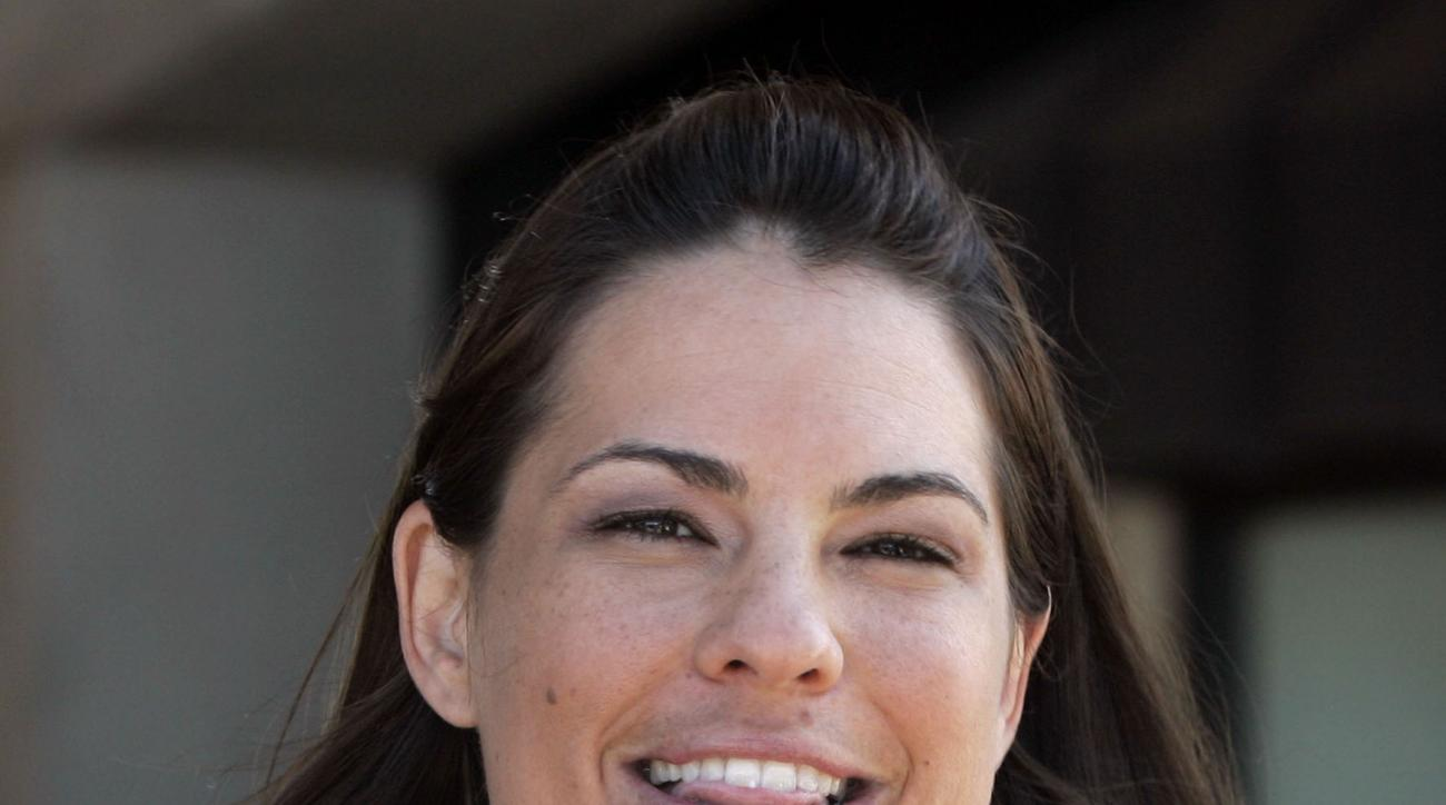 Jessica Mendoza is pictured during an interview in Oklahoma City, Tuesday, July 20, 2010. (AP Photo/Sue Ogrocki)