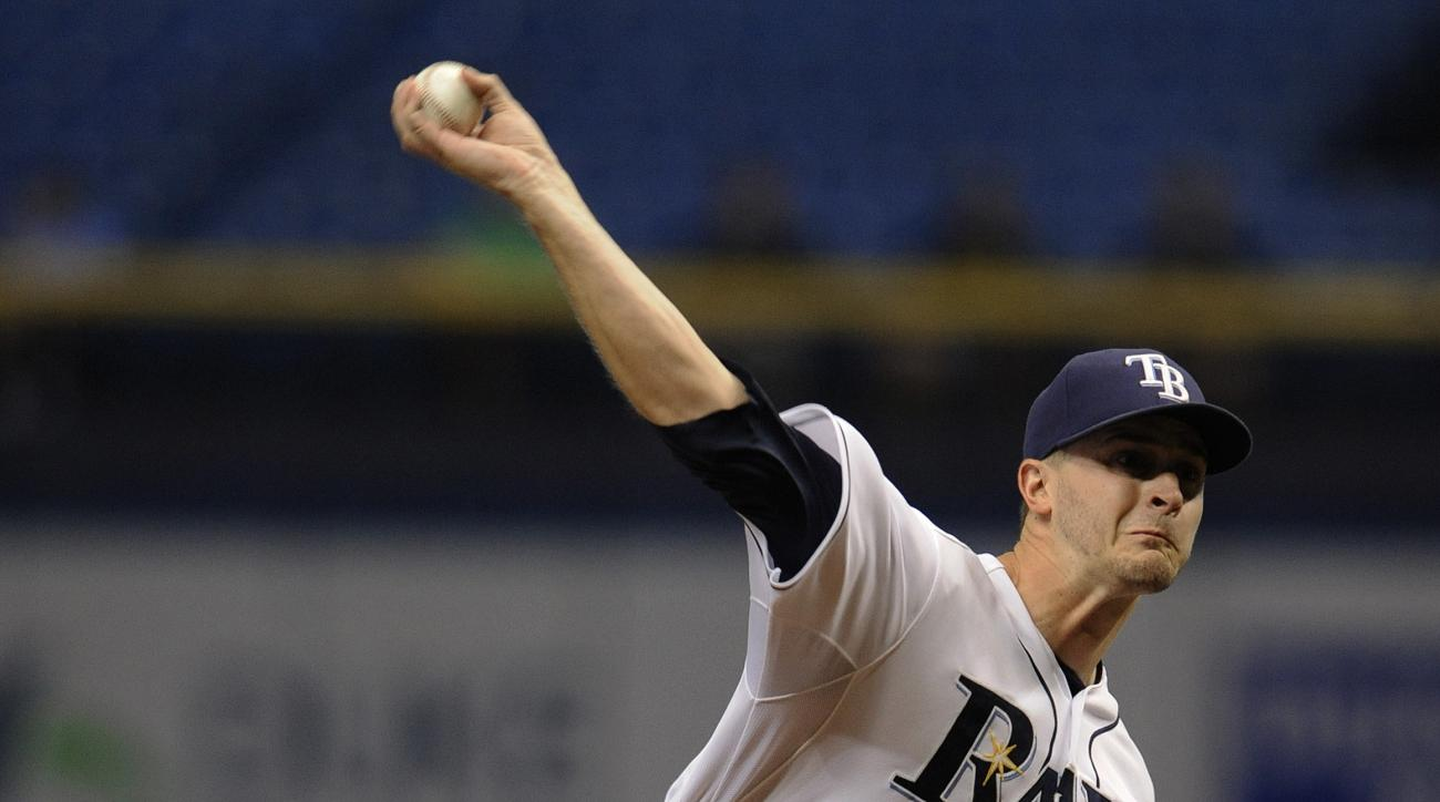 Tampa Bay Rays starter Jake Odorizzi pitches against the Miami Marlins during the first inning of a baseball game Thursday, Oct. 1, 2015, in St. Petersburg, Fla. (AP Photo/Steve Nesius)