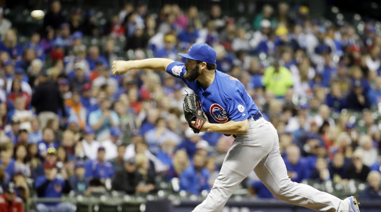 Chicago Cubs starting pitcher Jake Arrieta throws during the first inning of a baseball game against the Milwaukee Brewers Friday, Oct. 2, 2015, in Milwaukee. (AP Photo/Morry Gash)