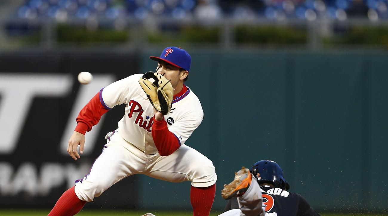 Miami Marlins Dee Gordon steals second base as Philadelphia Phillies  shortstop Chase d'Arnaud (2) waits for the throw during the sixth inning of the first game of a baseball doubleheader, Saturday, Oct. 3, 2015, in Philadelphia. (AP Photo/Rich Schultz)