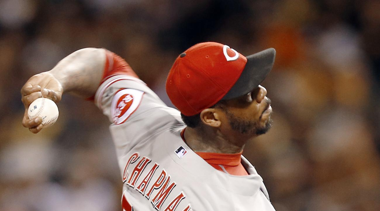 Cincinnati Reds relief pitcher Aroldis Chapman throws against the Pittsburgh Pirates in the ninth inning of a baseball game, Saturday, Oct. 3, 2015, in Pittsburgh. Chapman got the save as the Reds won 3-1. (AP Photo/Keith Srakocic)