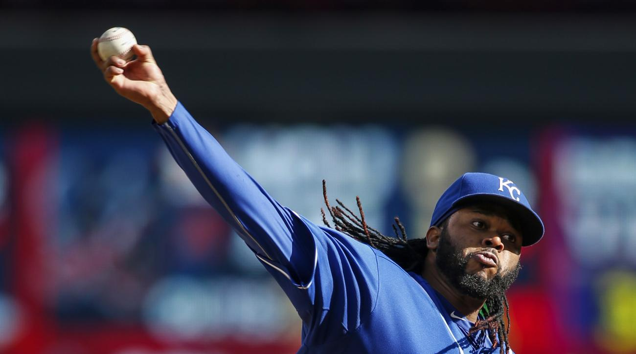 Kansas City Royals starting pitcher Johnny Cueto throws to the Minnesota Twins in the second inning of a baseball game Sunday, Oct. 4, 2015, in Minneapolis. (AP Photo/Bruce Kluckhohn)