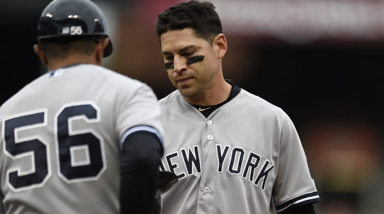 New York Yankees Jacoby Ellsbury, right, gives his helmet to first base coach Tony Pena after grounding out with two on in the fourth inning of a baseball game against the Baltimore Orioles in Baltimore, Sunday, Oct. 4, 2015. (AP Photo/Gail Burton)
