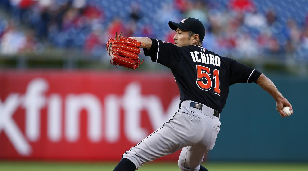 Miami Marlins' Ichiro Suzuki delivers a pitch in the ninth inning against the Philadelphia Phillies during a baseball game Sunday, Oct. 4, 2015, in Philadelphia. The Phillies defeated the Marlins 7-2. (AP Photo/Rich Schultz)