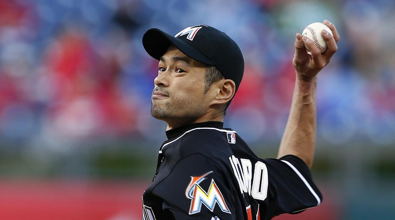 Miami Marlins' Ichiro Suzuki (51) delivers a pitch during the ninth inning against the Philadelphia Phillies during a baseball game Sunday, Oct. 4, 2015, in Philadelphia. The Phillies defeated the Marlins 7-2. (AP Photo/Rich Schultz)